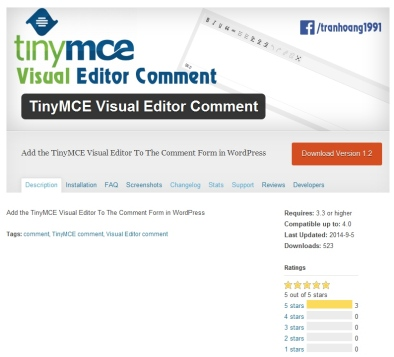 TinyMCE Visual Editor Comment